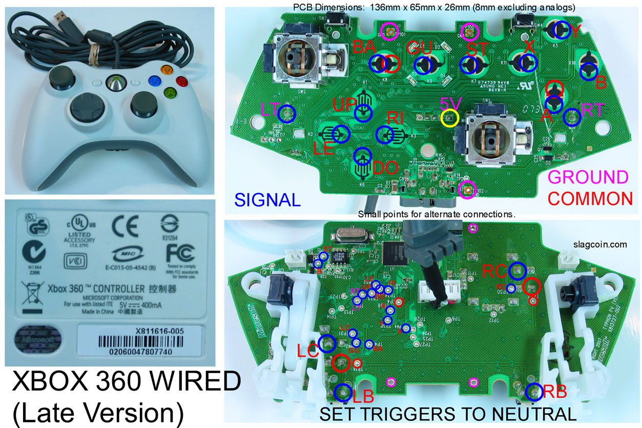 joystick controller pcb and wiring xbox 360 wired controller circuit board diagram xbox one controller wire diagram