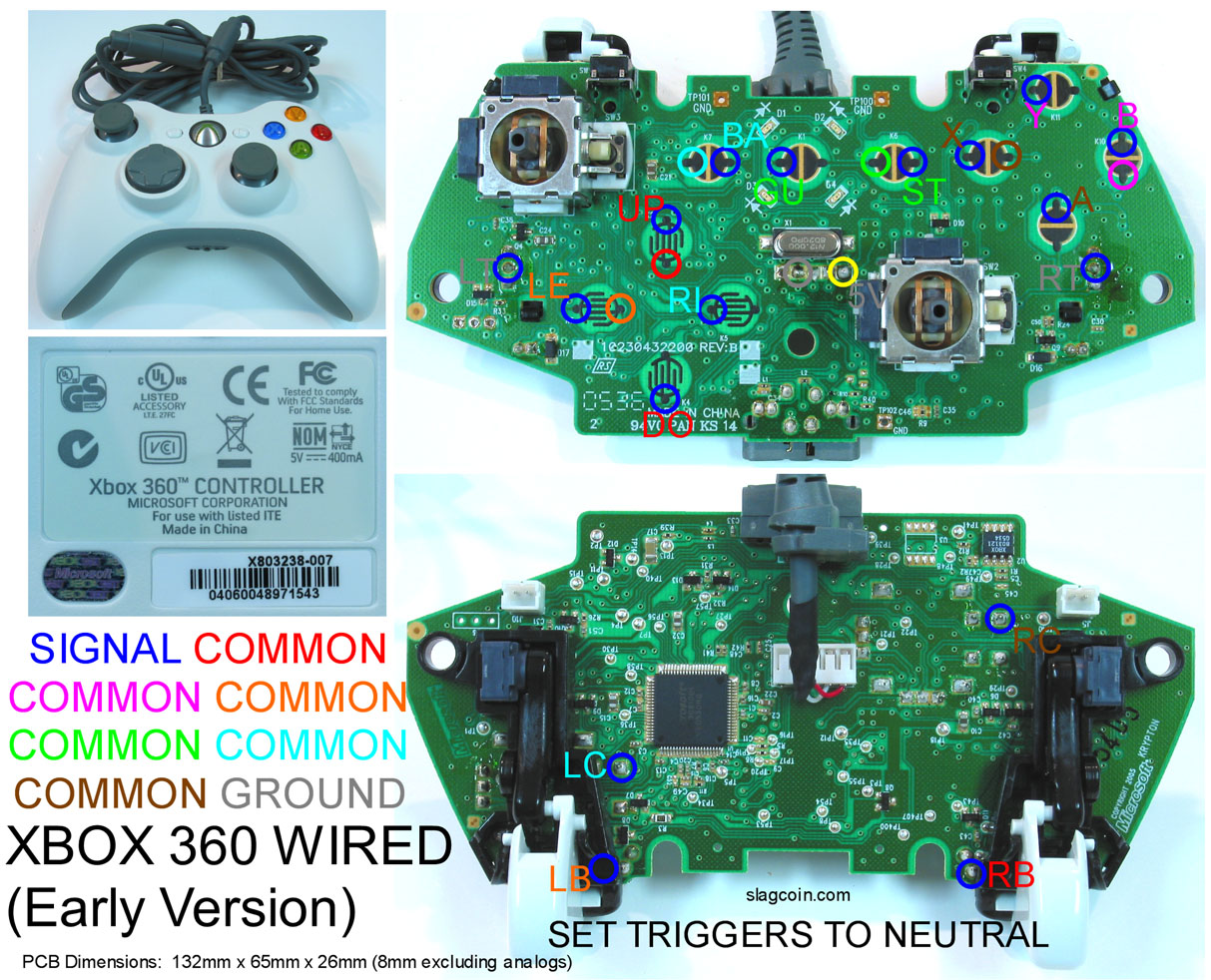 Xbox 360 Controller Wire Diagram Center Comparator Drives Lamp Circuit Tradeoficcom Gaming Gadgets And Mods Original Pcb Rh Blankj5 Blogspot Com Wired Board Wireless