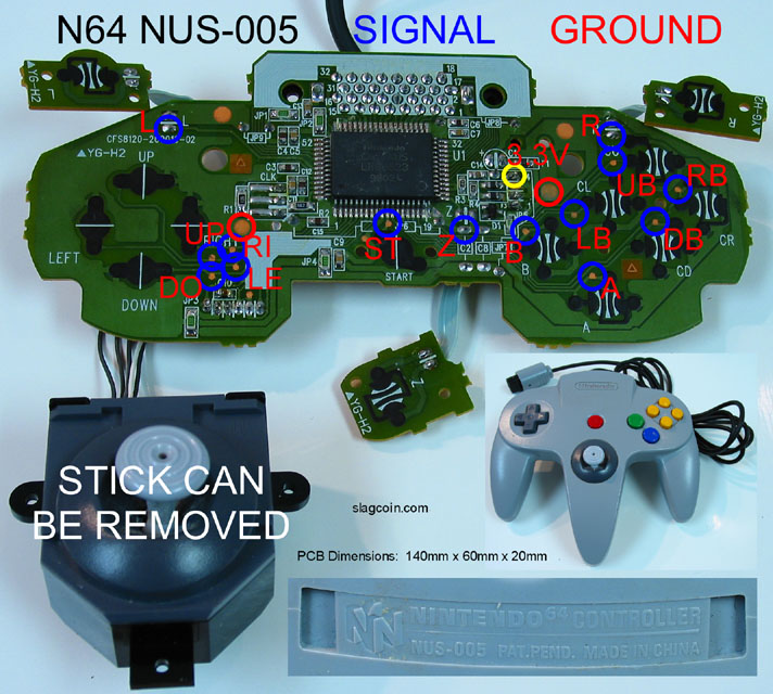 n64_diagram1 joystick controller pcb and wiring sega genesis controller wiring diagram at bayanpartner.co