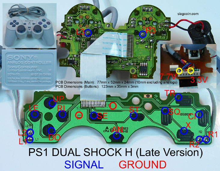 ps1_diagram9 joystick controller pcb and wiring Joysticks Connections Diagram at nearapp.co