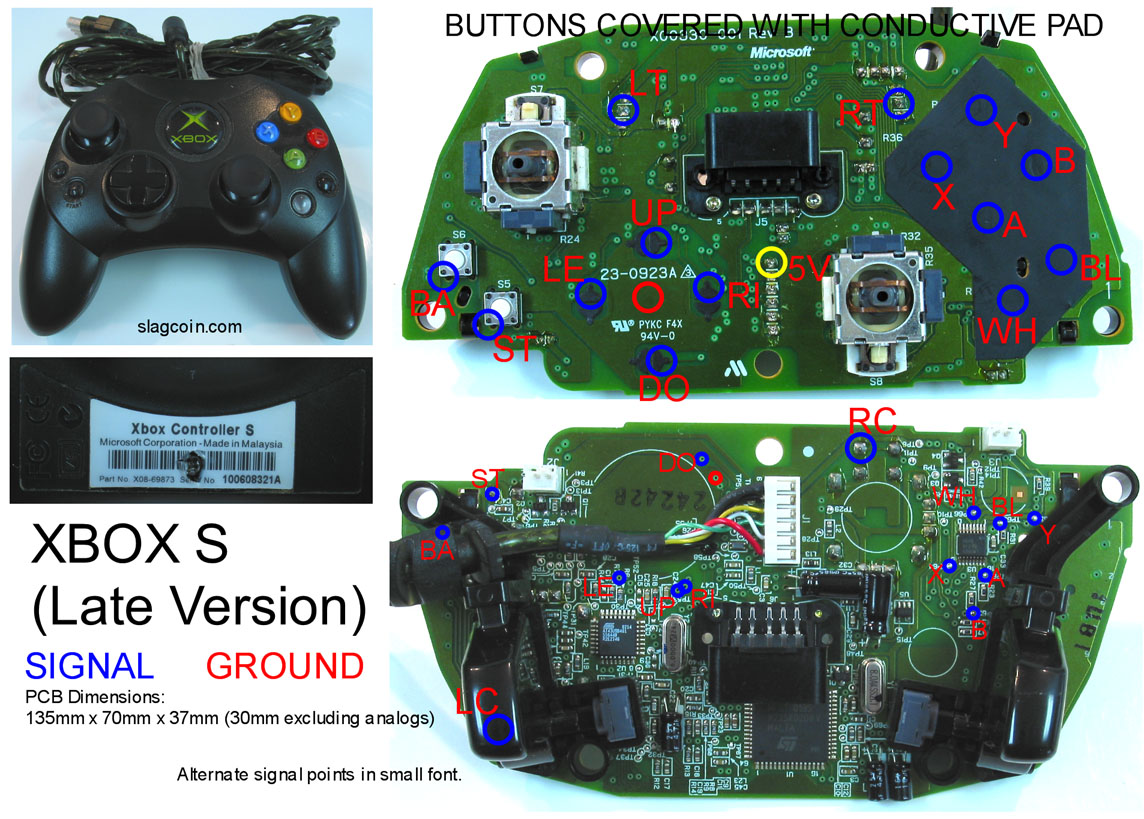 xbox_diagram3 gaming, gadgets, and mods xbox 360 and original xbox controller xbox 360 wired controller circuit board diagram at honlapkeszites.co