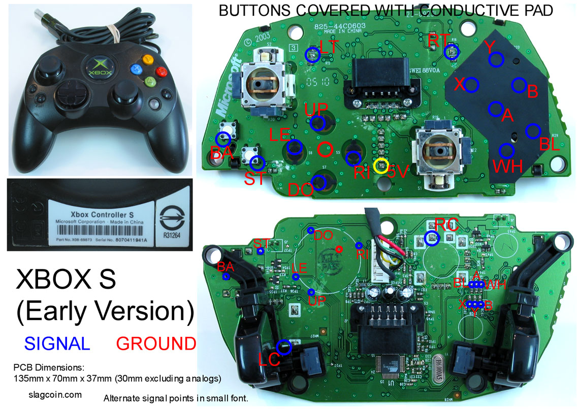 gaming, gadgets, and mods: xbox 360 and original xbox controller, Circuit diagram