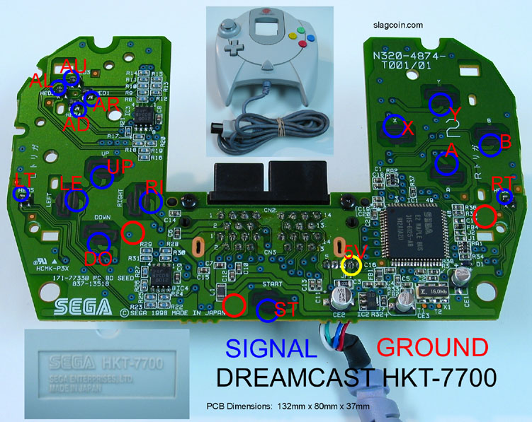 Joystick Controller Pcb And Wiring. Dreamcast Hkt7700 Lags. Wiring. Usb Wireless Ps3 Controller Wiring Diagram At Scoala.co