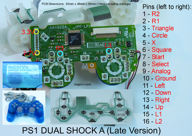 joystick controller pcb and wiring xbox one connections diagram playstation 1 dual shock a (late version)
