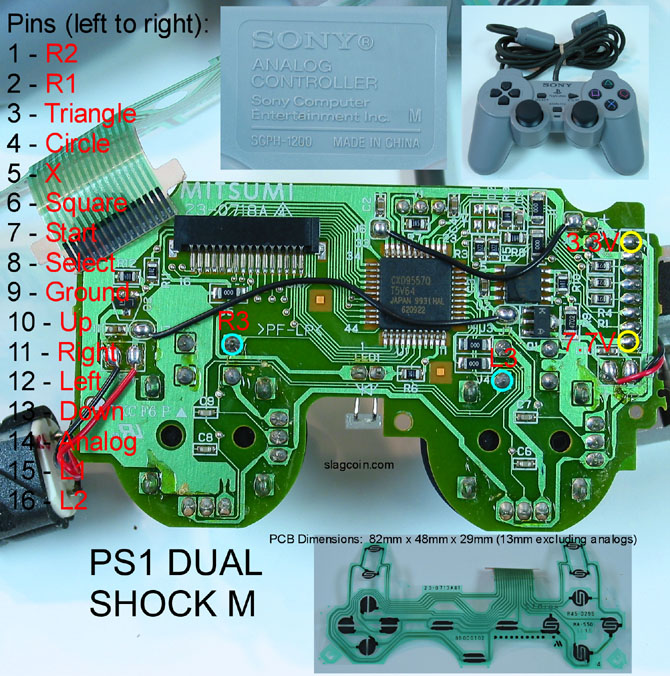joystick controller pcb and wiring  ps1 joystick wiring diagram #8